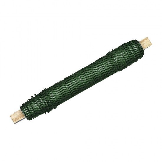 Zubehör und Ausgefallenes Blumendraht, dunkelgrün Blumendraht, lose dunkelgrün auf Holzwickel 100 g, 0,50 mm ø Ob für kleine ode