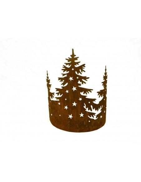 Weihnachtsbaum Metall und Edelrost 3 Tannenbäume aus Edelrost im Halbring - klein - Höhe 40 cm 3 Tannenbäume mit Sternen aus Ede