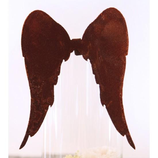Lange Engelsflügel aus Edelrost zum Einhängen für Gläser und Vasen