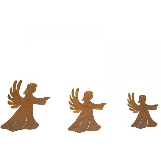 Weihnachtsbaumschmuck und Christbaumschmuck 3 tlg. Edelrost Engelskindkette - Christbaumschmuck Set ungefädelt 3 tlg. Edelrost E
