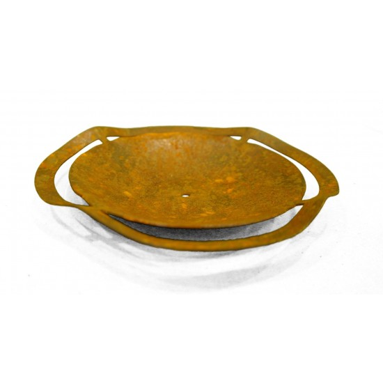Edelrost Kerzenteller gewellt Gr. 1 - Ø 12 cm zum Festschrauben
