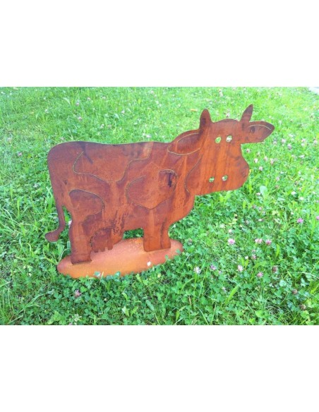 Rost Kuh 'Milka'  25 x 35 cm, auf Platte