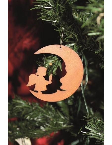 Gartendeko Rost Edelrost Christbaumschmuck Mond mit Engelskind, Höhe 8 cm Edelrost