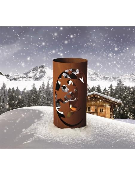 Sterne - Weihnachtstern Deko Edelrost Windlicht - Mond und Sterne, Höhe 40 cm Höhe: 40 cm Durchmesser: 20 cm
