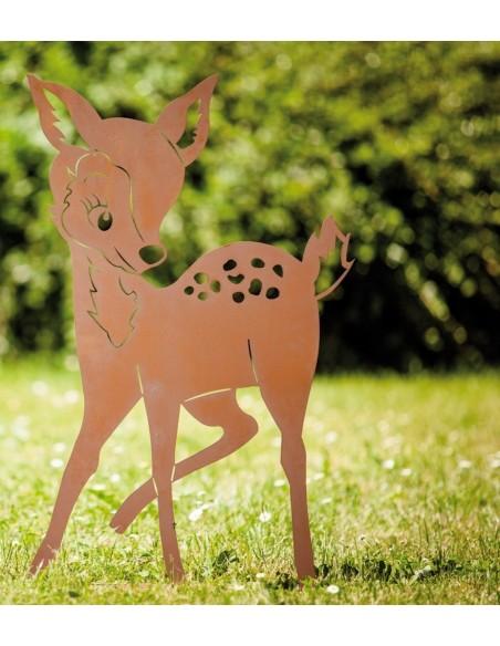 """Tiere - Edelrost Tierfiguren Edelrost Bambi, Höhe 41 cm Edelrost Rehkitz als Gartendeko Kleines Rehkitz """"Bambi"""" zum Hinstellen"""