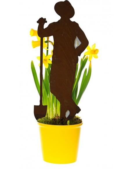 """Gartenstecker Blumenstecker Gärtner Paul - mit Schaufel Edelrost Beestecker Höhe ca. 30 cm + Stecker Unser Gärtner """"Paul"""" ist e"""