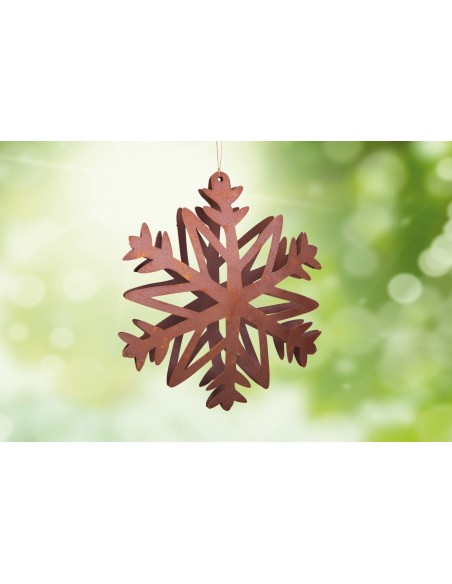 Gartendeko Rost Flocke 3 Schneekristall gebogen Ø 20 cm / rostige Flocke Edelrost