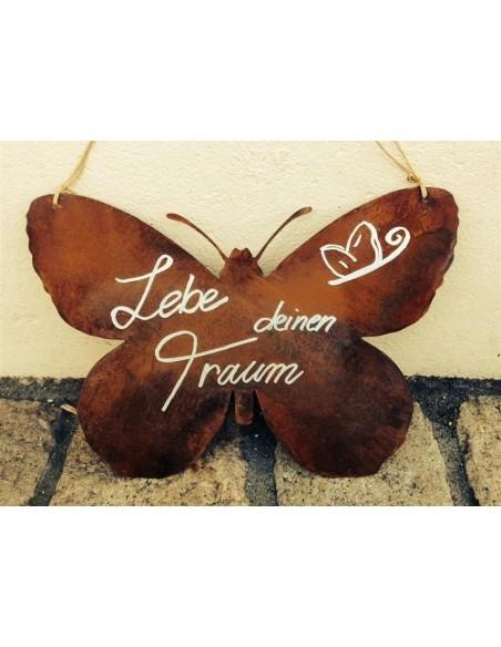Lebe deinen Traum - Rostige Spruchtafel mit Schmetterlingsmotiv