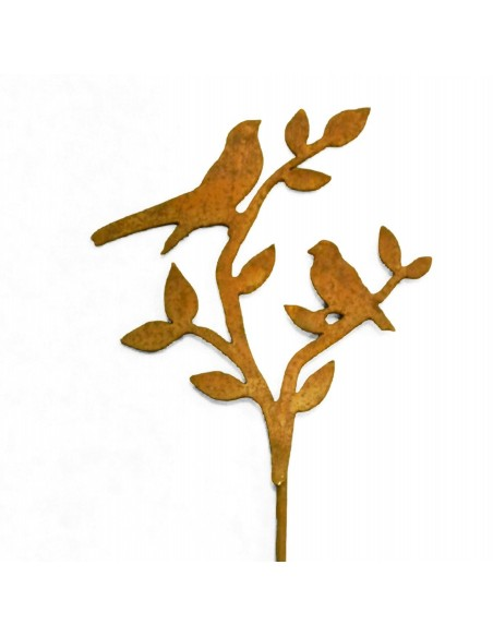 2 Vögel auf Ast - Edeltrost Stecker mit kurzem Stab Gesamthöhe 50 cm
