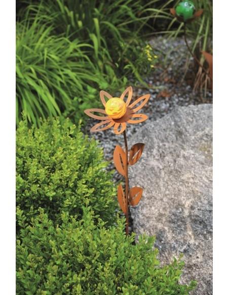 Glasblume Anna 77 cm hoch Edelrost Blume mit orangener Glaskugel