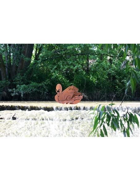 Edelrost Schwan 39 cm hoch auf Bodenplatte