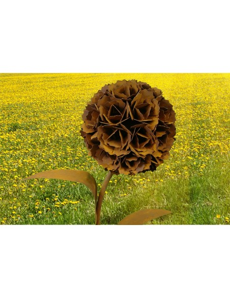 Edelrost Pusteblume mit 1 Blüte 130 cm hoch
