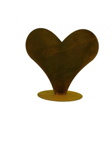 Edelrost Herz zum bepflanzen breit auf Platte 28 hoch