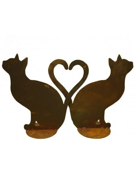 Katzen sitzend - bilden ein Herz (auch einzeln erhältlich) rostig - Rostdeko