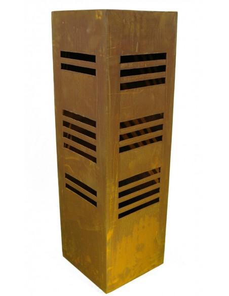 Rost Säule eckig mit Streifen - 2seitig 100 cm