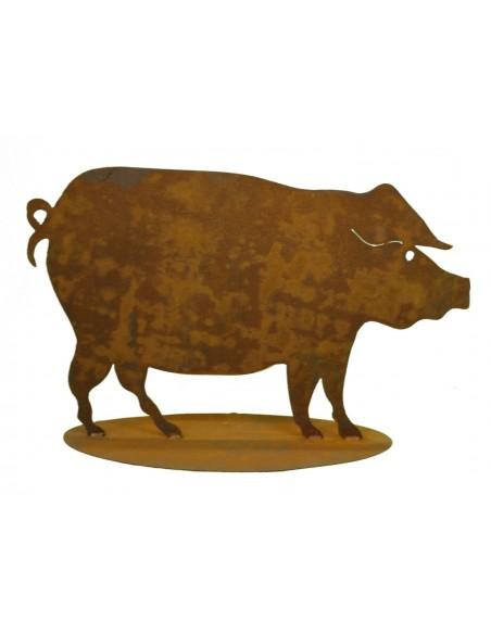 Edelrost Schwein 40 x 65 cm auf Platte
