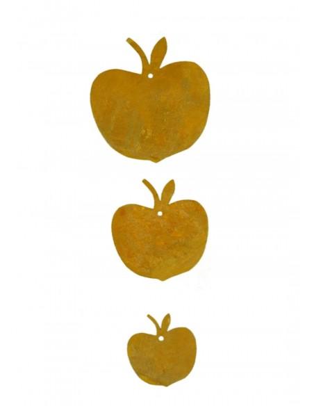 3 tlg. Apfelkette Edelrost ungefädelt - Rost Apfel Ø 10cm/8cm/6cm