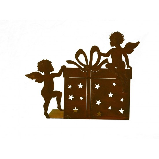 2 Engelchen mit Päckchen 50 x 39 cm