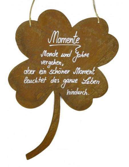 """Rostschild Kleeblatt """"Momente Monde und Jahre vergehen, aber ein schöner Moment leuchtet das ganze Leben hindurch"""""""
