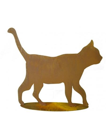 Rost Katze gehend - rostige Gartendeko
