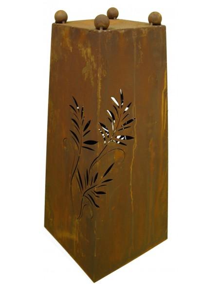 Konusgefäß -Farn- 60 cm hoch Rostsäule mit Farn Motiv von unten beleuchtbar