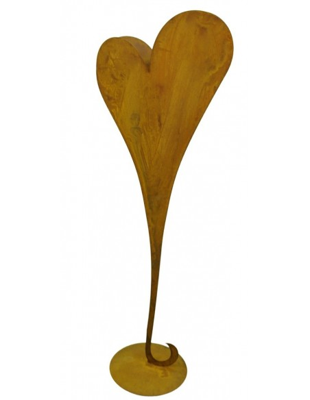 Edelrost Herzständer zum bepflanzen auf Platte 112 cm