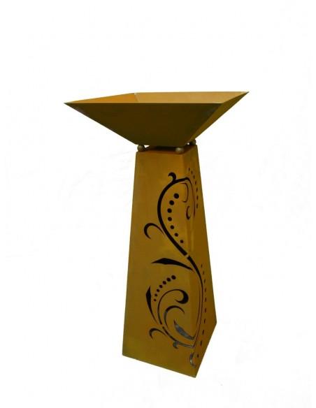 trapezförmige Säulen Rostsäule Trapez Lichterzauber 96,5 cm inkl. Schale   traumhafter Lichterzauber nachts, tagsüber ein Hinguc