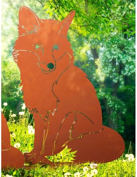 Fuchs sitzend auf Platte Gr. 3, Rost