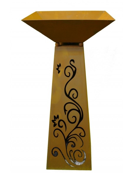 Rost Säule Trapez 96,5 cm hoch Ornament inkl. Schale