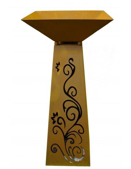 Rost Säule Trapez 116,5 cm hoch Ornament inkl. Schale