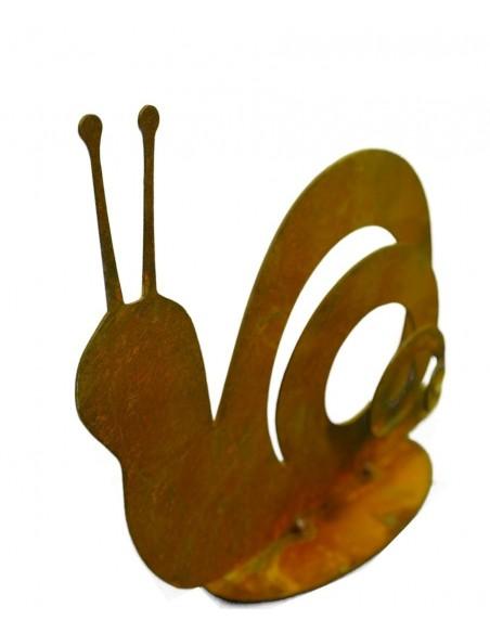 Rost Schnecke Gary auf Bodenplatte 10 cm hoch aus Edelrost Blech