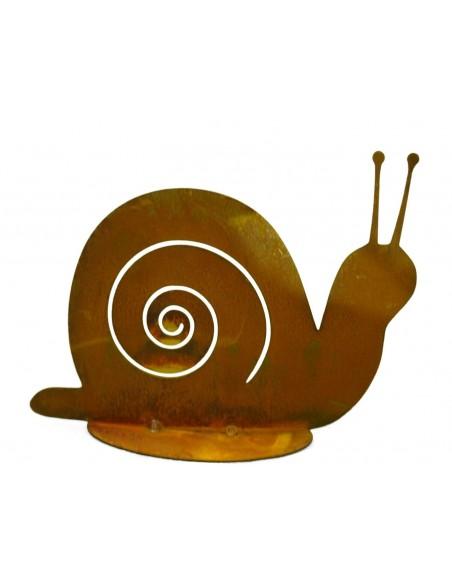 Edelrost Schnecke Gary auf Bodenplatte 20 cm Gartenschnecke aus Metall