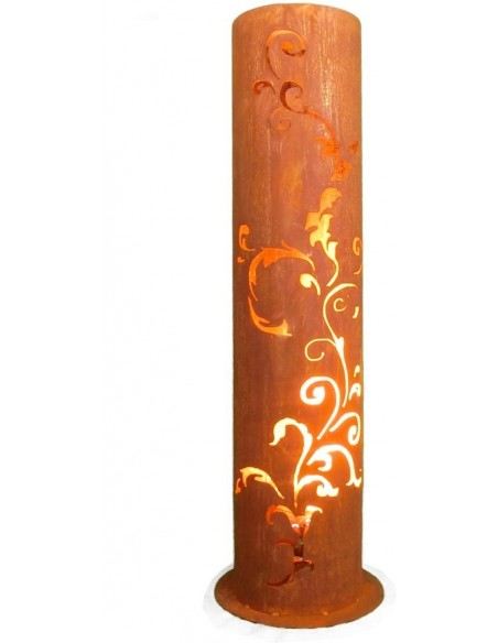 Rostige Säule Barok 120 cm - runde Rostsäule