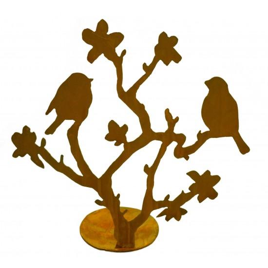 Kirschblütenzweig mit Vögeln, vorne an Platte geschweißt