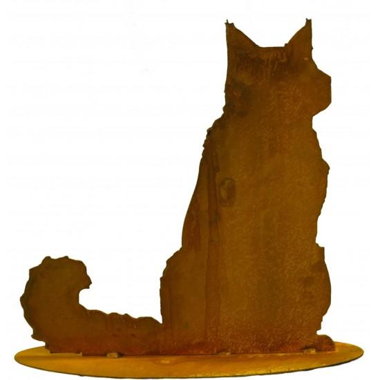 flauschige Katze sitzend, Schwanz zur Seite auf Platte
