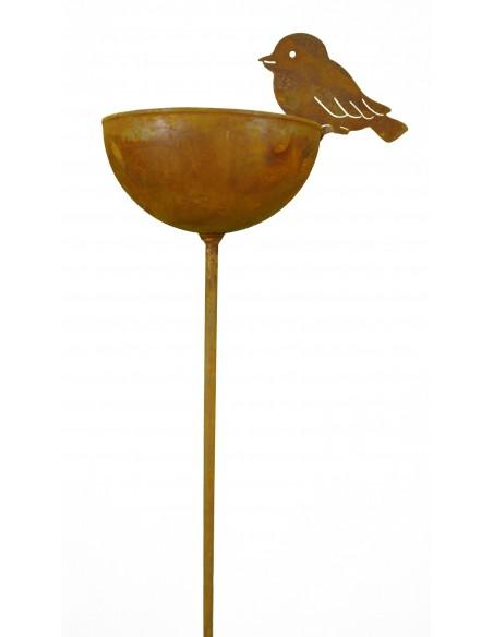 Vogeltränke aus Metall mit Stab klein