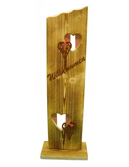 Holzständer Willkommen mit roter Deko