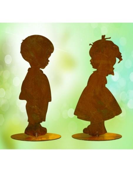 Edelrost Kinder Leo und Lotta im Set Kindersilhuette