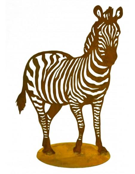 Rostige Tierfigur Zebra sorgt für afrikanischen Flair in Ihrem Garten