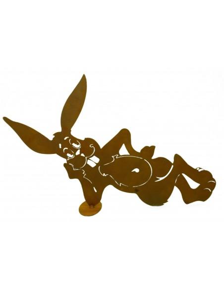 Frühling / Ostern Cooler Edelrost Hase liegend, Breite 49 cm Edelrost Osterhase in liegender Pose Unser chilliger Osterhase ist