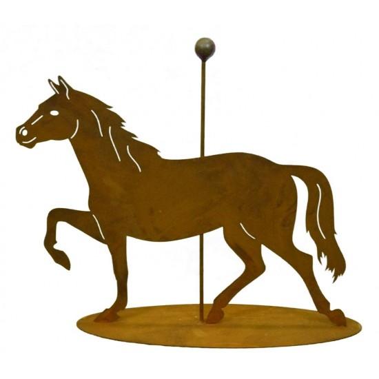 Turnierpferd mit Stange mittig auf Platte 40 cm hoch