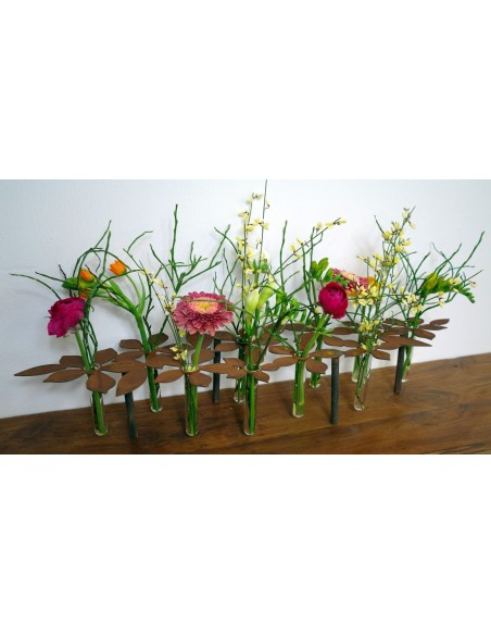 """Edelrost Tischdeko """"Blumen"""" inkl. 10 Reagenzgläsern Blumenständer kreativ"""