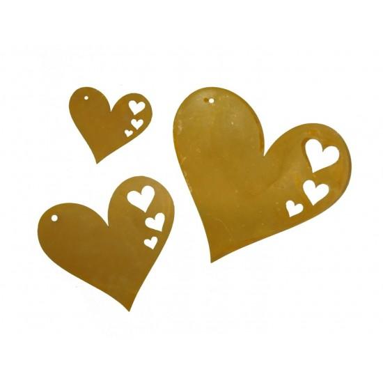 3er Set Osterschmuck Edelrost Herz mit Ausschnitten