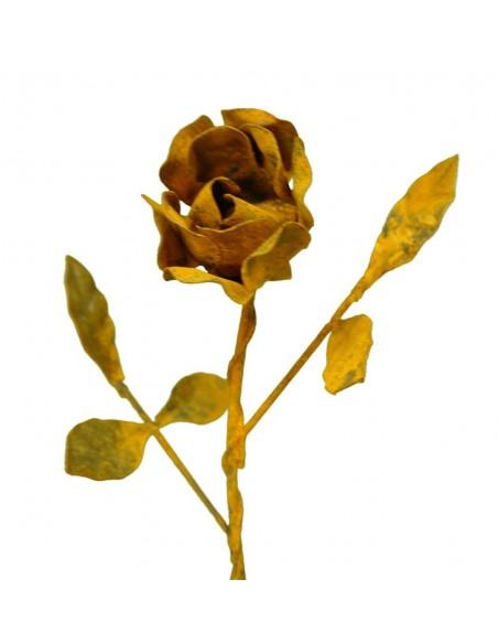 Edelrost Rose mit Stiel als Rostdeko