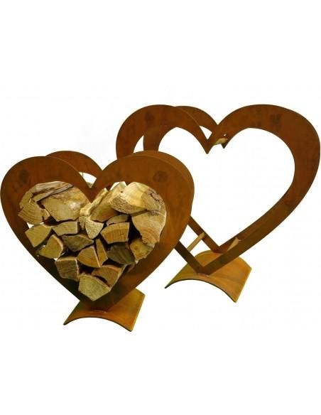 Regal für Kaminholz in Herzform in unterschiedlichen Größen erhältlich