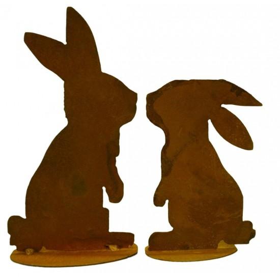 küssende rostige Hasen - Edelrost Hase 2er Set küssen sich