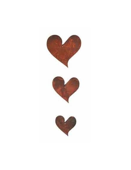 3 tlg. Herzkette geschwungen ungefädelt Edelrost Herzen zum basteln