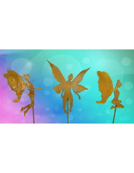 3 tlg. Rost Elfe Zauberwald auf Stab Gartenfee aus rositgem Metal