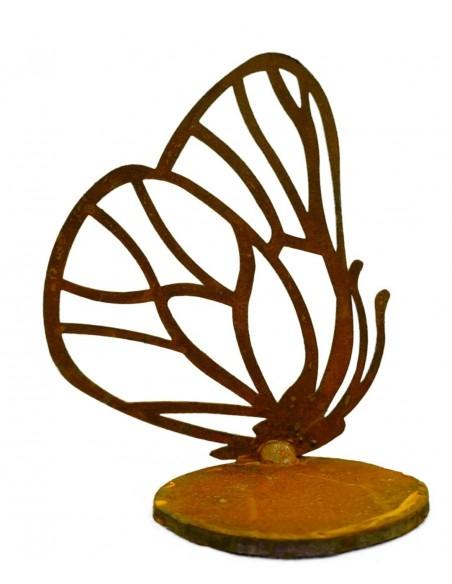 einzelner Edelrost Schmetterling vorne an Platte geschweißt für Teelicht