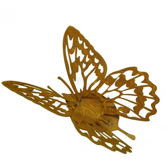"""""""Farfalla"""" rostiger Schmetterling Windlichthalter auf Platte"""